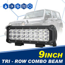"9"" INCH 270W TRI ROW CREE LED WORK LIGHT BAR COMBO OFFROAD DRIVING TRUCK 4WD ATV"
