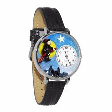Whimsical Watches Unisex U1220001 Halloween Flying Witch Black Skin Leather Watc