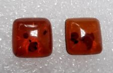 Designer dream! Natural Baltic Amber Square cabochon pair size 10 mm 2 pcs