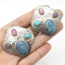 Mexico Vtg 925 Sterling Silver Natural Gemstone Large Modernist Clip On Earrings