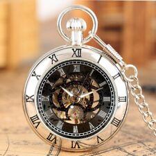 Reloj de Bolsillo para hombres Mecánico De Viento De Mano Antiguo Cara Abierta Esqueleto Colgante Cadena