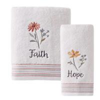 Inspire 2pc Set Bath Towel Hand Towel White Hope Faith Embroidered Bathroom Soft