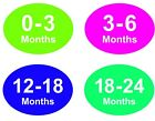 Coloured Baby & Childrens Clothes Size Stickers - Sticky Labels - 12 - 18 Months