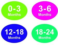 Coloured Baby & Childrens Clothes Size Stickers - Sticky Labels - 18 - 24 Months