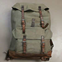 Swiss Vintage 1966 Eschenbach Salt and Pepper Leather/Canvas Rucksack Backpack