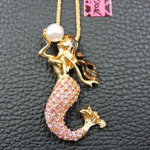 Hot Cute Pink Rhinestone Mermaid Crystal Pendant Betsey Johnson Chain Necklace