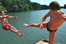 Shirtless Male Frat Dudes Goofing Off at Lake Speedo Super Kick PHOTO 4X6 C1382