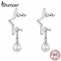BAMOER Women Stud Earrings Starry 925 Sterling silver With Pearl Dangle Jewelry