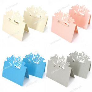 20PCS Table Name Place Cards Mr&Mrs Wedding Party Pearlescent Laser Cut