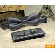 Mens 3 Piece  Cotton Bow Tie Set Cufflinks & Pocket Square Handkerchief  Wedding