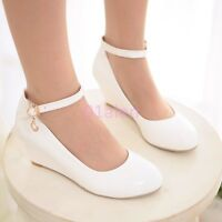 Ladies Casual Womens Mid Wedge Heels Wedding Bridal Plus Size Shoes Ankle Strap