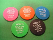 Virginia Tokens 5 Pc Set-Wade's Grocery-Ferrum-VA-Franklin County