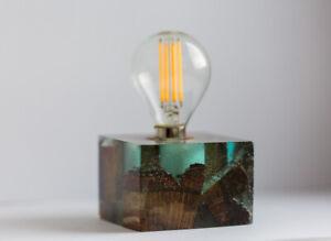 Epoxy blue resin wood lamp, average size
