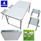 Portable Folding Picnic Camping Set BBQ Party Aluminium Table +4 Foldable Chairs