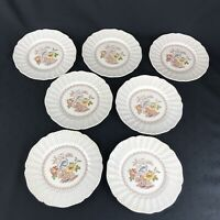 Set of 7 ROYAL-DOULTON White/ Brown GRANTHAM D5477 Luncheon Plates