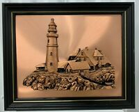 Amazing Vintage Jager 3D Copper Lighthouse Wall Art Framed Made in USA EUC