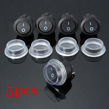 5PCS 2-PIN ON-OFF SPST Round Dot Car Auto Rocker Toggle Switch+Waterproof.Cover