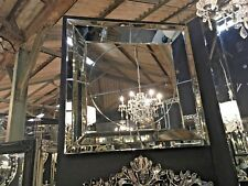 Large Square Deco Style Venetian Tray Mirror With Circle Detail 110 x 110 cm