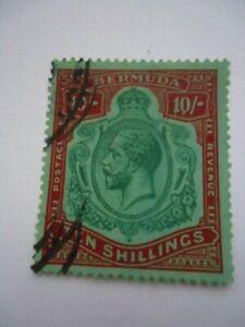 Bermuda KGV 1918-22 SG54 10/- Green & Carmine on Pale bluish Green Used