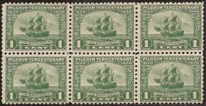 US Stamp - 1920 1c Pilgrim Tercentenary-Block 6 Stamps-CV $54 #548