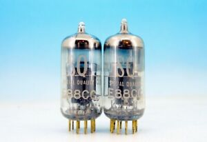 2x MATCHED E88CC S.Q. Philips Heerlen Gold Pin PAIR TUBES 6922 CCa CV2492 9622