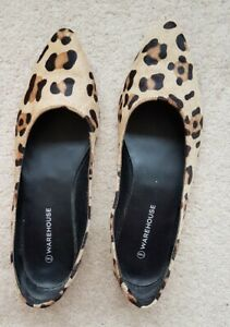 Warehouse Womens Leopard Print Flat Shoes Size UK7 <CX7879