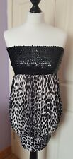 New Look Black Sequin Leopard Print Dress Size 12 NEW