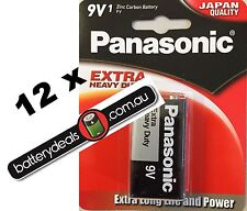 12 Panasonic Extra heavy Duty 9V Batteries Genuine - FRESH STOCK 6F22NP/1B
