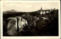 Český ráj Hrubá Skála Böhmisches Paradies s/w AK 1952 V pozadi Trosky Panorama