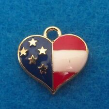 Pendant USA Flag Heart Charm Red White and Blue Flag Enamel / Gold Tone Charm