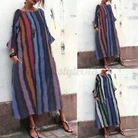 ZANZEA Women Long Sleeve Kaftan Multi-Color Striped Casual Loose Long Maxi Dress