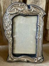 Vintage Estate Mexican Repousse Sterling Silver Picture Frame Easel Back Bird