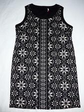 SLIMMING DRESS PLUS SIZE 20 BLACK BEIGE CUT-OUT FLORAL thick stretch fabric B