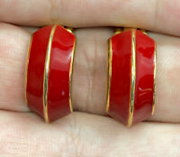 Vintage Gold Tone & Red Enamel Curved Clip Earrings