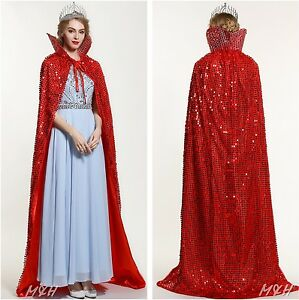 """71"""" Full Length Sequin Satin Cloak Cape Wedding Pageant Prom Party Costumes Red"""