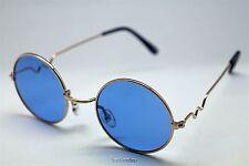 BLUE ROUND SUN GLASSES GOLD FRAMES TRIGUN VAMPIRE COSPLAY STEAM PUNK HIPPIE