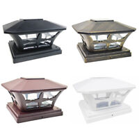 8 Black / Bronze / Brown / White 6 x 6 Solar Post Deck Cap Fence Light PVC Vinyl