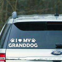 """White """" I love my Granddog """" Vinyl Decal sticker for Car, laptop, for dog lover"""