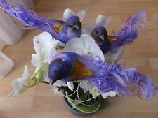 3x Dekovögel lila vögel  Frühlingsdeko Glitzerfäden  Federvögel Floristik