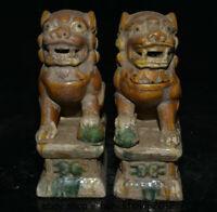 "8.2 ""Sammle Tang Sancai Keramik Feng Shui Foo Hund Löwen Statue Paar"