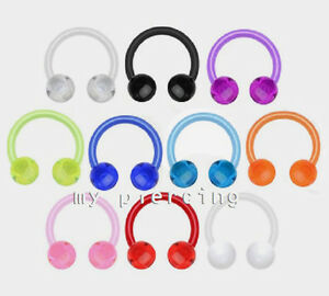 "2pcs. 16g 3/8""- 4mm Balls Acrylic UV Horseshoe Circular Barbell Earrings Septum"