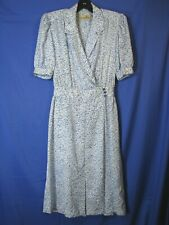 Liz Claiborne Silky Blue Print Wrap Style Shirt Dress Vintage Rockabilly Sz 6-P