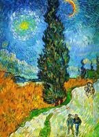 "Vincent Van Gogh *FRAMED* CANVAS ART Road with Cypresses 16""X 12"""