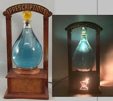 RARE! Antique Pharmacy Countertop Glass Show Globe Wood Store Display Light Sign