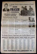 NOV. 5 1962 MPLS. TRIBUNE NEWSPAPER - DON FRASER 1st RUN FOR CONGRESS