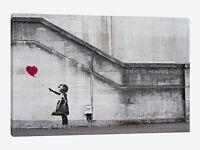 "Wall Art Banksy ""Always Hope"" Balloon Love Heart Girl Canvas Print 34""X20"" Large"