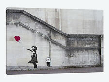"Wall Art Banksy ""Always Hope"" Balloon Love Heart Girl Canvas Print 34""X20"" Large"