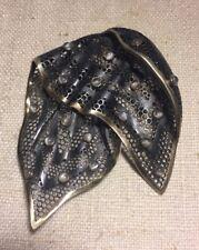 Marilyn Cooperman Sterling Silver & 18k Gold Moonstone Handkerchief Brooch Pin
