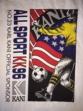 VTG KARL KANI JEANS All Sport KK96 23 Official Sponsor White T-Shirt SOCCER 2XL