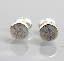 New Authentic Gucci Sterling Silver Teddy Bear Stud Earrings w/Box
